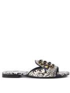 Emanuela Caruso Stone Embellished Python Leather Sandals - Stone