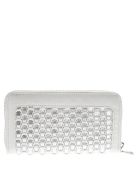 Love Moschino Zip Around Wallet In White And Silver Eco Leather - Silver/white