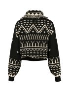 Alanui Rainy Mountains Cropped-length Knitted Cardigan - black