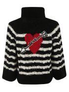 RED Valentino Turtleneck Woven Sweater - Milk/black