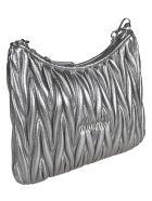 Miu Miu Matelassé Crystal Embellished Shoulder Bag - Cromo
