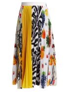 MSGM Iconic Patchwork-print Pleated-crepe - Multicolor