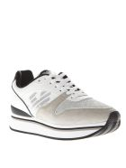 Emporio Armani White Polyester & Suede Thick Sneakers - White