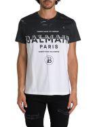 Balmain T-shirt A Maniche Corte Girocollo Con Stampa Metà Nuovo Logo - Bianco/nero