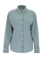 Closed Striped Aloise Shirt - GREEN WHITE (Green)