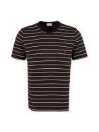 Saint Laurent Striped Cotton T-shirt - black