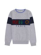 Kenzo Kids Cotton-cashmere Blend Crew-neck Pullover - grey