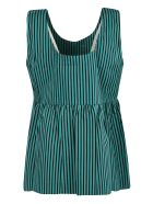 Plan C Stripe Print Top - Green/Black