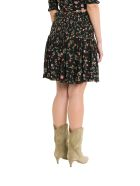 Ganni Elm Mini Skirt With Floral Motif And Smock - Nero