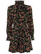 Marc Jacobs Floral Print Bow Detail Dress - Black/Multicolor