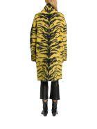 Laneus Longline Cardigan In Tiger Pattern Alpaca - Giallo