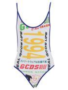 GCDS Logo Print Swimsuit - White