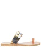 Ancient Greek Sandals Ancient Greek Leather Sandals Thraki With Golden And Silver Sequins - MULTICOLOR