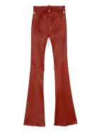 Ben Taverniti Unravel Project Vintage Leather Flared Trousers - red