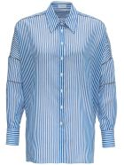 Brunello Cucinelli Striped Shirt In Cotton With Monile Details - Light blue