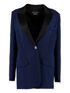 Boutique Moschino Satin Lapels Blazer - blue