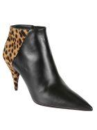 Saint Laurent Animal Print Ankle Boots - Black
