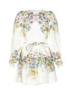Zimmermann Wavelenght Bell Sleeve Mini Dress - Cream daphne