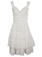 Dolce & Gabbana V-neck Flared Sleeveless Dress - white