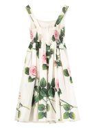Dolce & Gabbana Gathered Cotton Poplin Dress - White