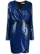 Blumarine Printed Leo Paillettes Dress - Blu