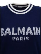 Balmain Knitted Jumper In Cashmere Blend With Logo And Padded Shoulders - Blu