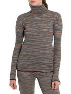 M Missoni Slub Fabric Turtleneck With Lurex Details - Grigio