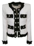 Balmain Contrast Fringe Tweed Jacket - White