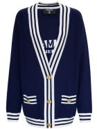 Balmain Blue Cardigan In Wool Blend With Back Logo - Blu