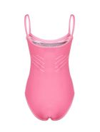 Prada Logo Knitted Swimsuit - Rosa fluo bianco