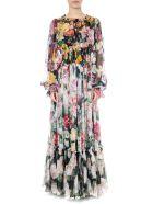 Dolce & Gabbana Floral Print Chiffon Silk Multicolor Flared Dress - Multicolor