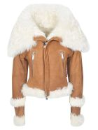 Dsquared2 Side Zip Fur Detail Jacket - Brown