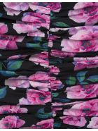 Giuseppe di Morabito Floral Black Short Dress With Ruches - Flora midnight