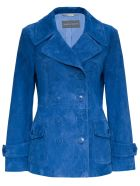 Alberta Ferretti Double-breasted Jacket In Blue Suede Leather - Blu