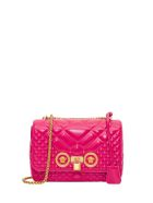 Versace Icon Shoulder Bag In Patent Leather - Fucsia