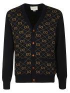 Gucci Logo Motif V-neck Cardigan - Ink