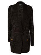 Balmain Belt-tie Knitted Cardigan - Black