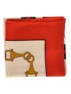 Gucci Gucci Interlocking G Stirrups Print Scarf - WHITE RED TRIM