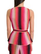 M Missoni Sleeveless Top With Stretch Waist And Basque Style - Multicolor