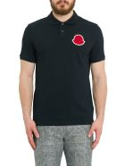 Moncler Polo Shirt+ With Big Logo Patch On Chest - Nero
