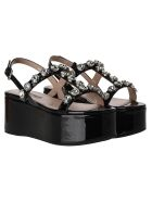 Miu Miu Crystal-embellished Flatform Sandals - BLACK