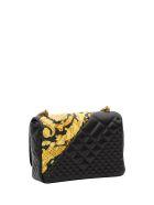 Versace Icon Shoulder Bag With Gold Hibiscus Motif - Nero