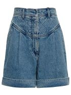 Philosophy di Lorenzo Serafini High Waisted Cotton Denim Shorts - Blu