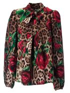 Dolce & Gabbana Pussybow Blouse - Leopard