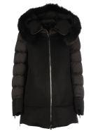 Moorer Leno Mandorla Coat/fresia-le In Feather And Wool - Black  Black