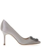 Manolo Blahnik Hangisi Grey Satin Pumps - Gray