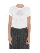 Isabel Marant Étoile Koldi Logo Linen T-shirt - White