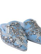 Alexander McQueen Slipper With Crystals - AZZURRO
