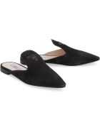 Prada Suede Pointy-toe Mules - black