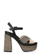Castañer Analia Jute Wedge Espadrilles - black